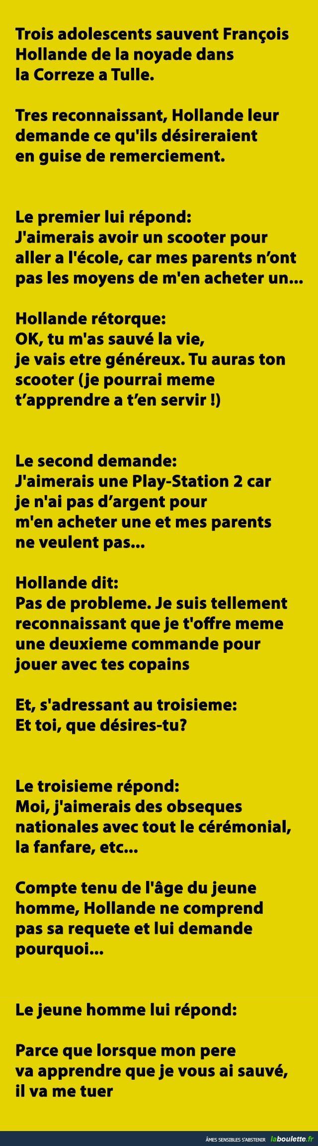 Trois adolescents sauvent François Hollande de la noyade dans la Correze a Tulle... | LABOULETTE.fr - Les meilleures images du net!