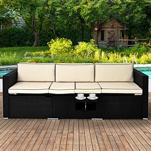 Rattan Garden Sofa Black Wicker Cream Cushion Conservatory Furniture Sun Multi- Reclining Function Outdoor Lounger - Including Coffee Table