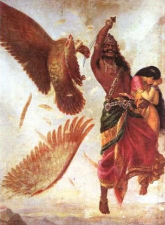 Ravana Sita and Jatayu : A Raja Ravi Varma painting.
