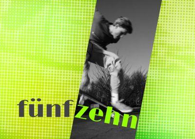 Coole Einladung zum Geburtstag für Jugendliche in Retrostil mit Foto und grünem Raster.