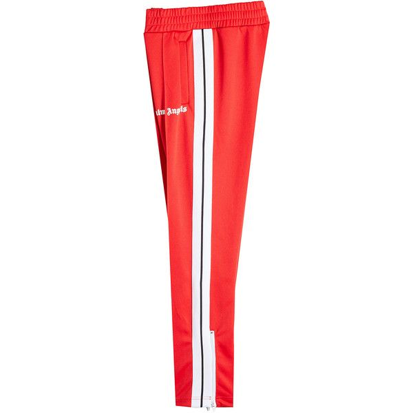 Palm Angels Track Pants (€299) ❤ liked on Polyvore featuring activewear, activewear pants, red, zippered sweat pants, red sweatpants, red sweat pants, red track pants and track pants