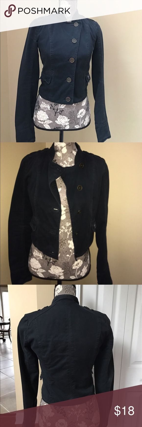 Abercrombie and Fitch Military Jacket Abercrombie and Fitch Military Jacket size XS.  Excellent condition.  Deep navy Denim military jacket, with detailed stitching, details on shoulder with metal buttons, 3 buttons by cuff, lined.   100% cotton. Abercrombie & Fitch Jackets & Coats