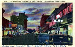 Congress Street Tucson AZ (Edge and corner wear) Tags: vintage postcard pc tucson az arizona downtown linen comments remarks x marks correspondence story stories main street bright lights tonight souvenirs store storefronts glass windows sidewalks parking curios pants neon sign federal credit clothing pereira photo photography studio commercial kress beauty shop fox theater sunset