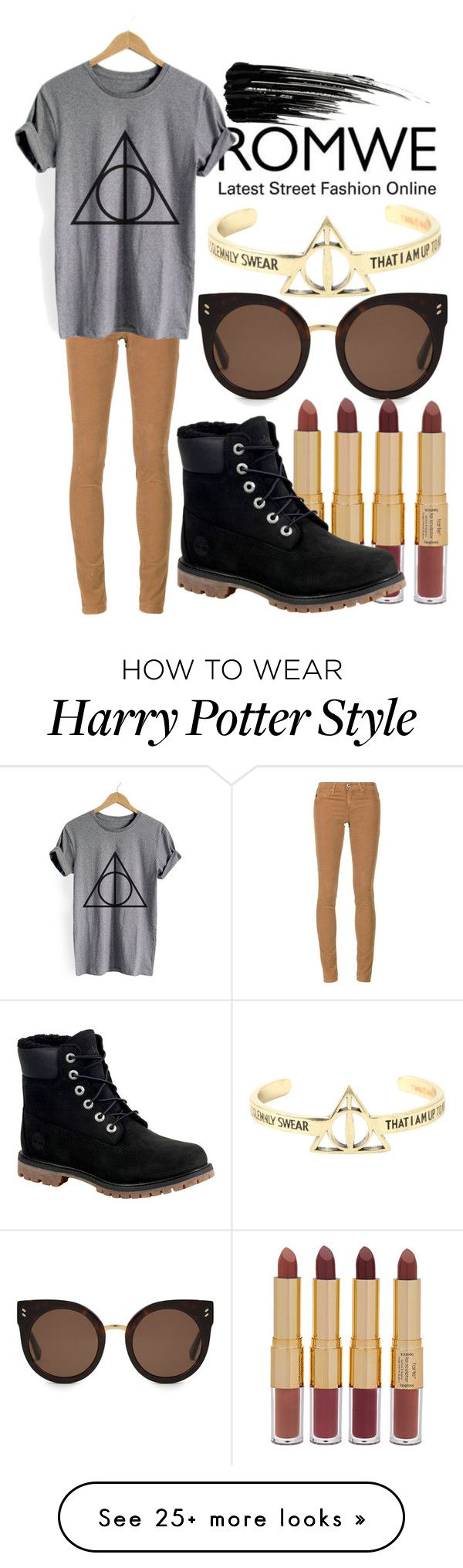 """""""ROMWE - Heather Grey Geometric Print T-shirt"""" by chezqah-agnir on Polyvore featuring STELLA McCARTNEY, tarte, AG Adriano Goldschmied, Warner Bros., Timberland and Urban Decay"""