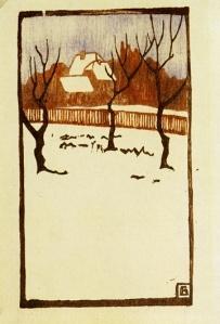 Friz Bleyl, Winter, 1905 Woodcut, 17 x 9.9 cms (Brücke Museum, Berlin) #art #woodcut