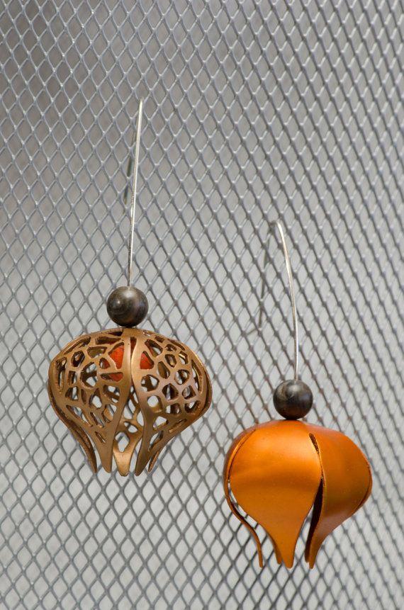 Asymmetrical Chinese Lantern Earrings by MetalMythStudios on Etsy
