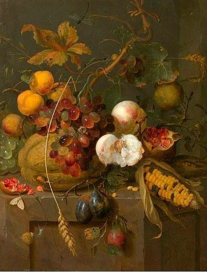 rosebiar:  Jan Mortel Still Life with Fruit and Insects 1700 ~ Visit myaloysius.tumblr.com