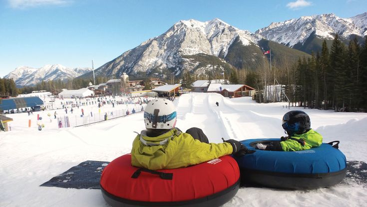 The tube park at Mount Norquay is the first of its kind in the Banff area. You ride the magic carpet up the hill with your tube and slide down (solo or in a group) in one of the tube lanes. It's exhilarating and no lessons are required if you're a newbie.