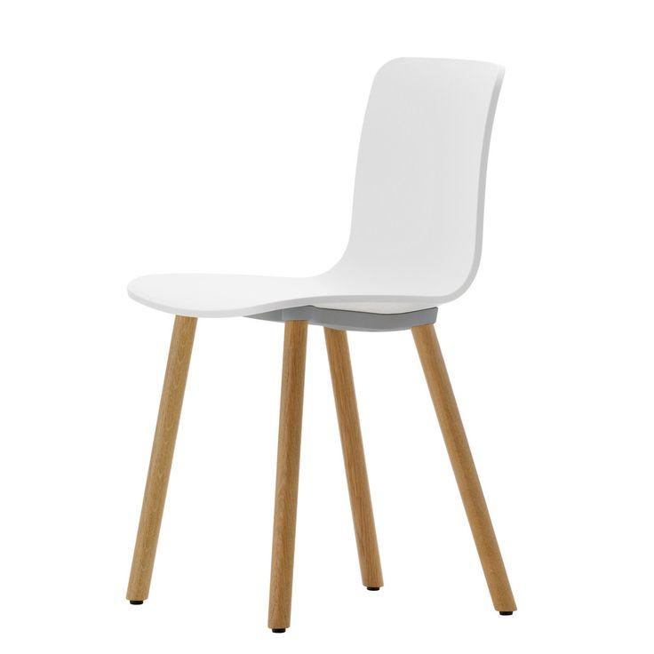 Vitra   Hal Wood Stuhl, Weiß / Eiche Hell / Kunststoffgleiter Jetzt  Bestellen Unter: