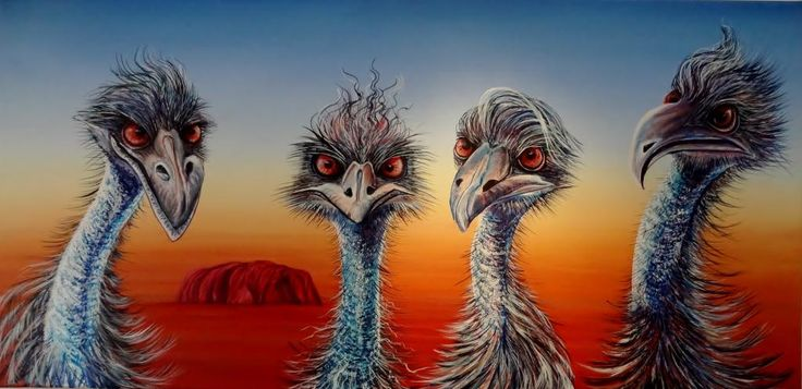 """The Rock Gods"" by Linda MacAulay - Acrylic on Canvas. Whimsical Australian art featuring emus as the Rolling Stones"