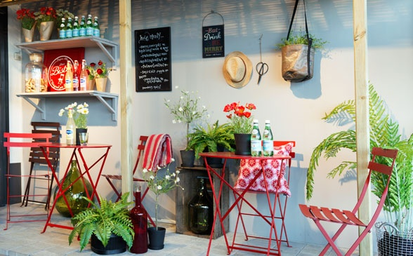 From our store south of #Stockholm. #Bistro #tables and #chairs #colors #red #outdoor #design