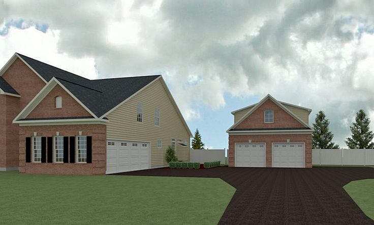 Rendered View of proposed detached garage to compliment the existing residence.