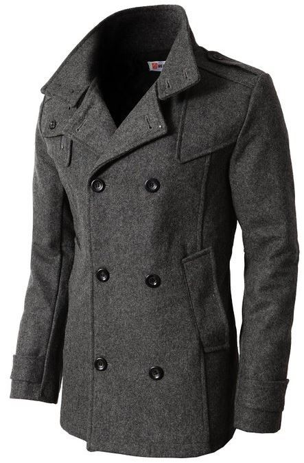 H2H Mens Casual Regular Fit Wool Coat with Quilted Lining #H2H #HAVE2HAVE