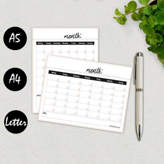 Blank Calendar, Calendar Template, 2016 Calendar Printable, Calendar Planner, Calendar Template 2016, Monthly Calendar A5, INSTANT DOWNLOAD