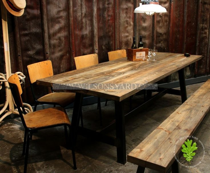 Industrial Style Table with Plank Top | Wilsonsyard.com