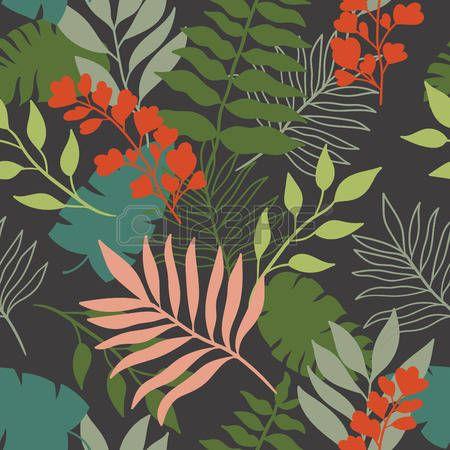 foglia tropicale: foglie tropicali seamless pattern