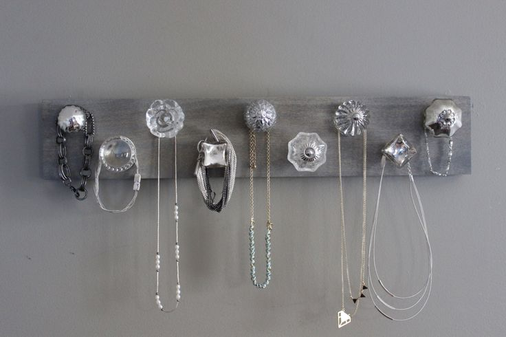 Jewelry organizer, necklace holder, jewlery holder, 9 knob necklace organizer for wall, hanging jewelry, silver and crystal, bedroom wall by WinsomeWalls on Etsy https://www.etsy.com/listing/246215112/jewelry-organizer-necklace-holder