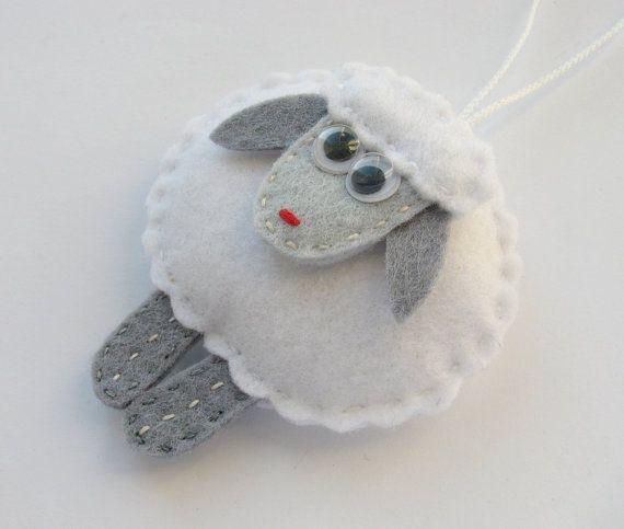 Felt Sheep Ornaments Christmas tree decorations by HandmadeByHelga