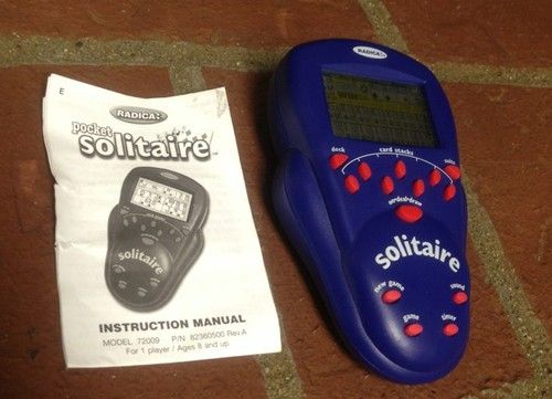 Radica 2000 Solitare Electronic Handheld Replacement Blue Game