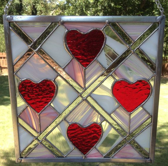 Contemporary Stained Glass Panel Red Heart Panel by PeaceLuvGlass