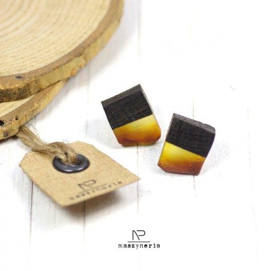 kolczyki - inne-Wood&Amber Kolczyki Czarny Dąb