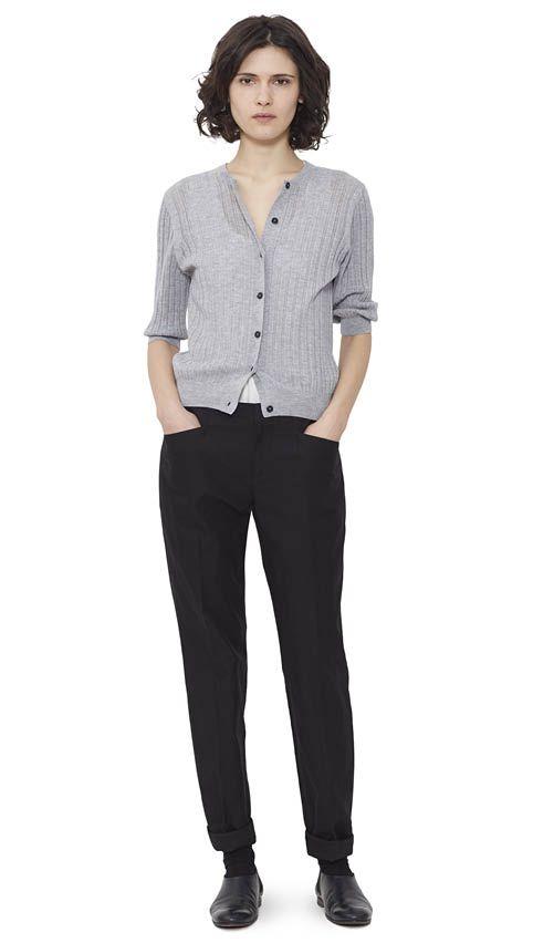 WOMEN AUTUMN WINTER 15 - Pale grey merino/cashmere Lace Cardigan, white cotton Vest, black cotton/linen Work Trouser, black leather Chelsea Shoe