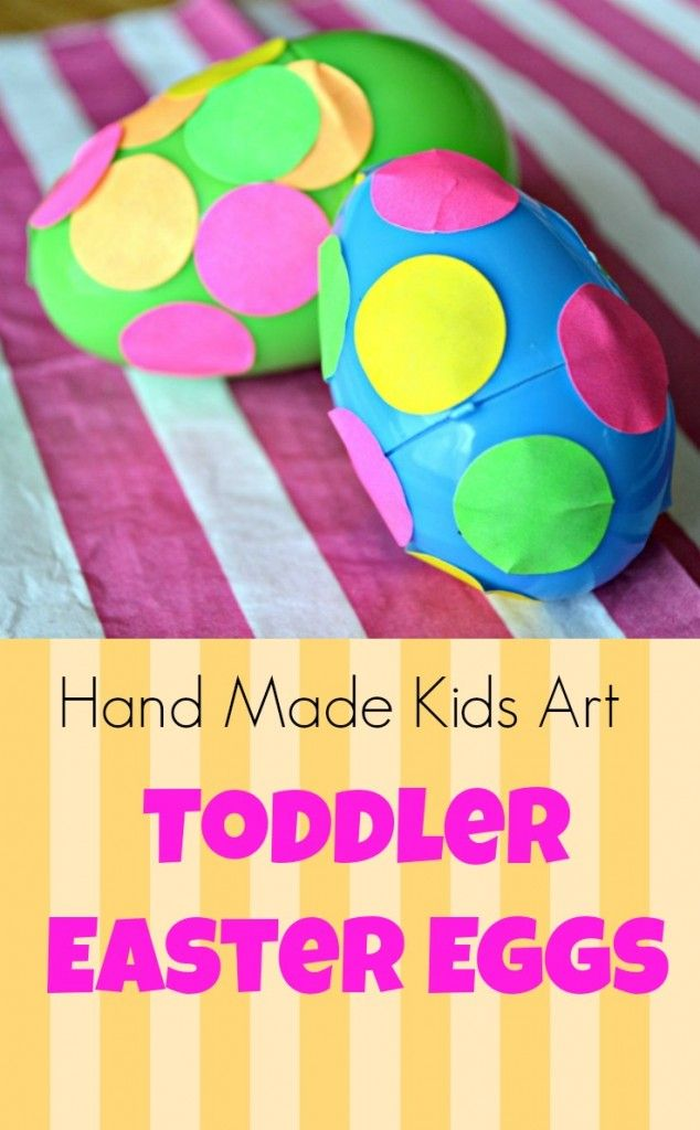 Easy Easter Craft for Toddlers. A non messy way to decorate eggs with young artists from Hand Made Kids Art.