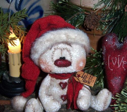 "Primitive Frosty Valentine Winter Ornie 5"" Snowman Bear Doll Vtg Patti's Ratties"