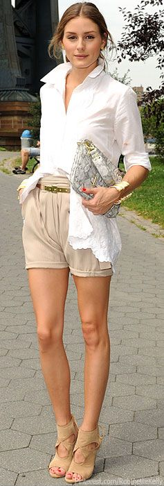 White Blouse and Beige shorts | Olivia Palermo is the quintessence of Style