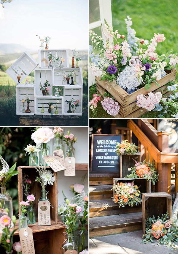 wedding wooden crates with flowers