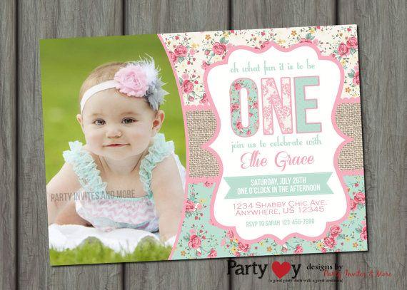 Burlap Shabby Chic Birthday Invitation by PartyInvitesAndMore