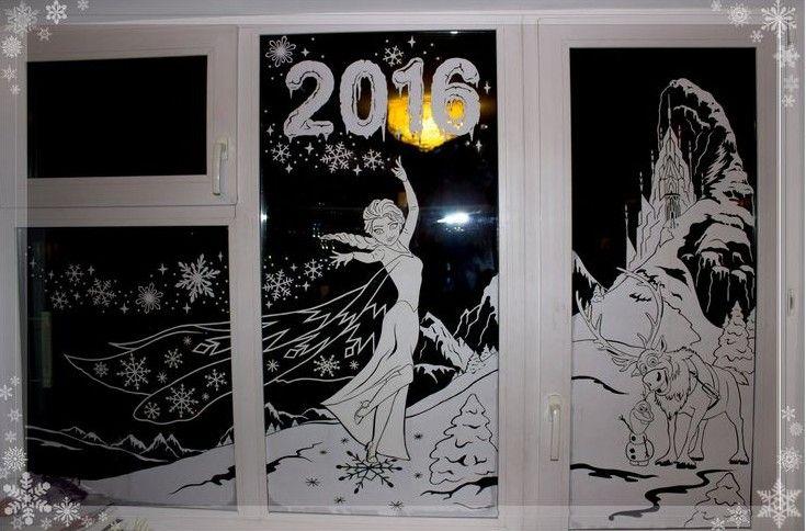 Трафареты на окна из бумаги к Новому 2019 году, чтобы ...