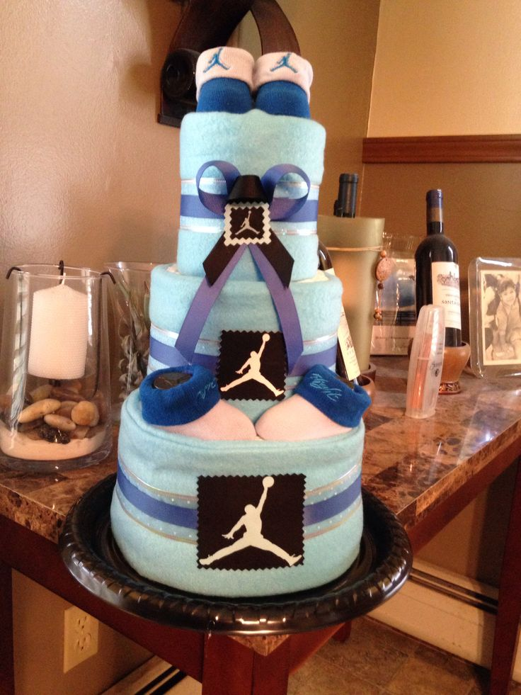 Michael Jordan inspired Blue Diaper Cake
