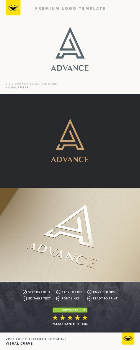 A Letter Logo by VisualCurve on @creativemarket  2d, a, A letter, A logo, app, bold, brand, clean, colorful, corporate logo, creative, letter A, logo, logotype, media, modern, professional, software, strong, studio, web