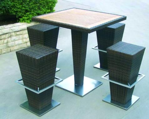 ensemble bar de jardin fusyon avec table haute et 4 tabourets hauts ce mange debout est tr s. Black Bedroom Furniture Sets. Home Design Ideas