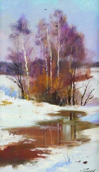 Зима в картинах Сергея Тутунова.