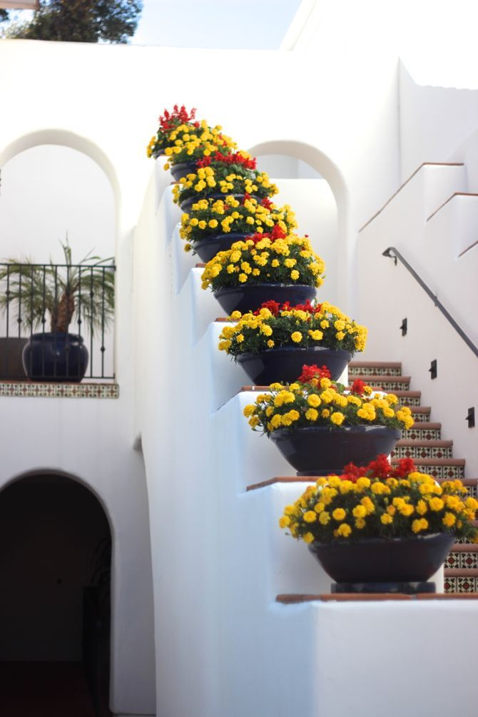 Spanish exterior staircase - wide framing giving extra room for large Spanish terracotta pots.