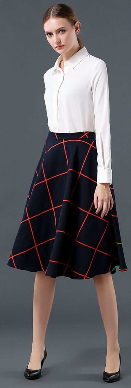Navy Blue Plaid A-line Skirt