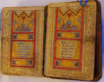 A miniature pocket Qur'an (folio size: 7.3 x 4.5 cm) in Naskh script with floral lacquer binding, signed by Ali Akbar and originated from Safavid dynasty (late 17th Cent AD).