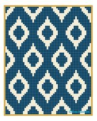Ikat quilt pattern. Instead of many little squares, I might see about calculating rows with varied sizes of colors.