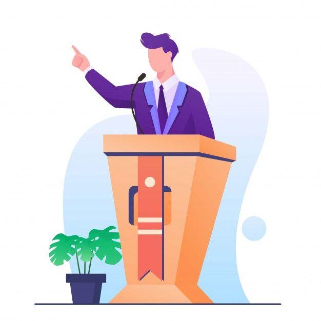 Speech Man On Podium Illustration Pet Logo Design Illustration Cartoon People