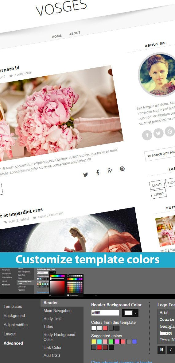 Etsy Blogger Template called Vosges by BloggerTemplate