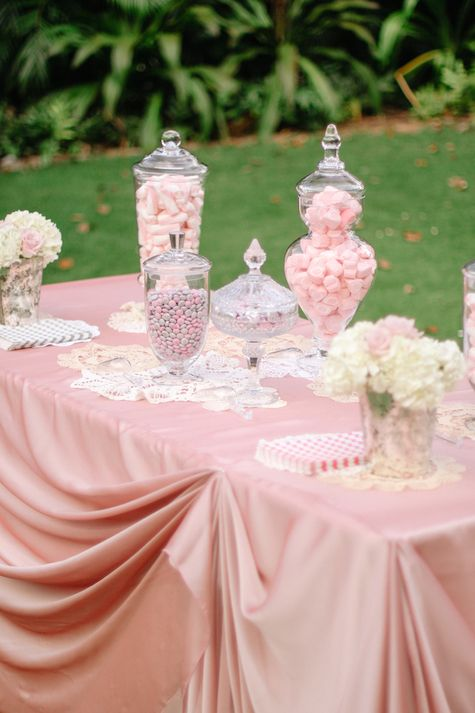 Pretty in Pink Candy Table Display | Cristina Elena Photography | TheKnot.com