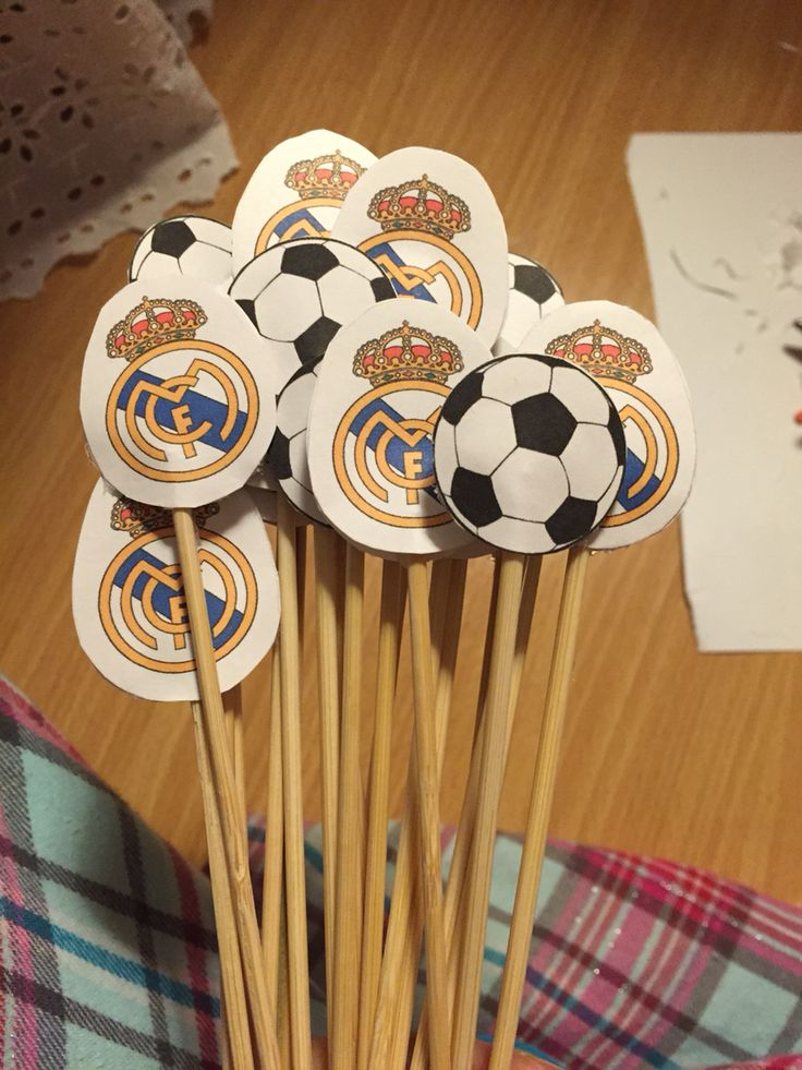 Soccer themed skewers! Real Madrid