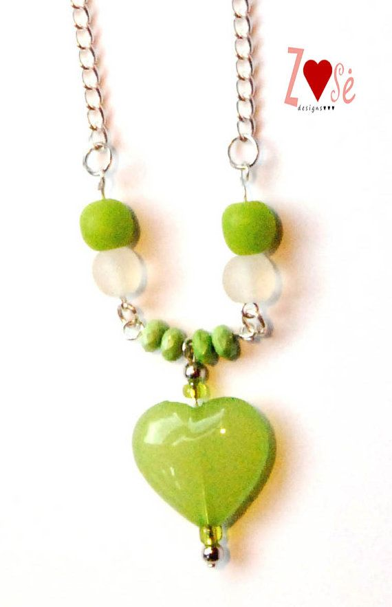 Girls green heart necklace. Size Large. by ZoseDesigns on Etsy, $12.00