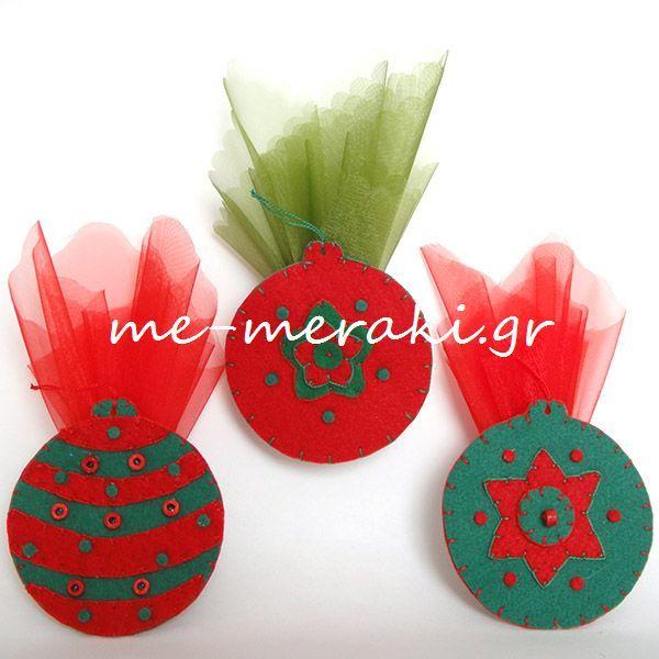 Handmade mpomponiera Me Meraki Mpomponieres Χειροποίητη μπομπονιέρα βάπτισης, τσόχα στολίδια κρεμαστά για το χριστουγεννιάτικo δέντρο. Με Μεράκι Μπομπονιέρες Μπομπονιέρα Βάπτισης μπομπονιέρες βάπτισης www.me-meraki.gr   ΥΦ066-Β