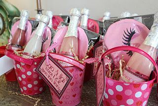 Champagne bubble bath and sleep mask party favors for a lingerie wedding shower