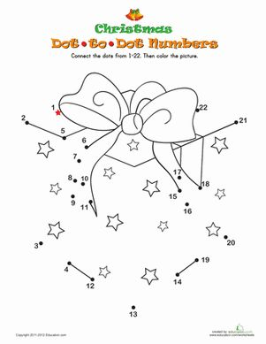Kindergarten Holidays & Seasons Worksheets: Christmas Dot-to-Dot 3