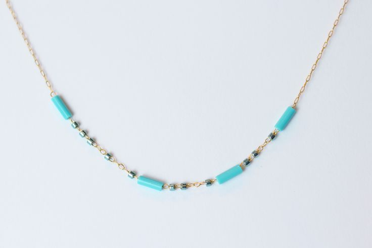 "::MORSE CODE NECKLACE:: 1 mm delica and 6mm bugle--reads ""Bella"" and shown in turquoise combo ($34)"
