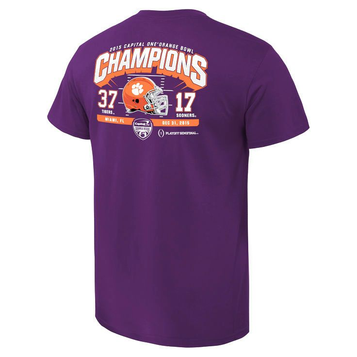 Clemson Tigers College Football Playoff 2015 Orange Bowl Champions Touchdown Score T-Shirt - Purple - $20.89